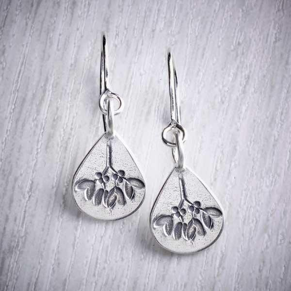Christmas earrings, mistletoe design by Helen Shere