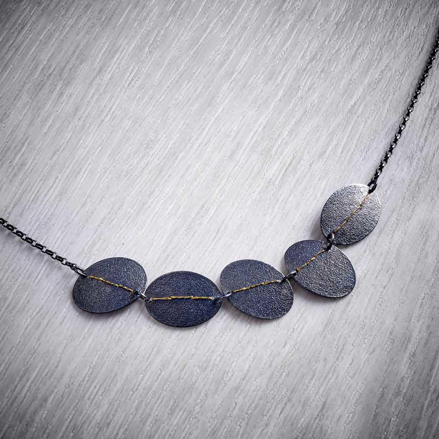 Oxidised silver and gold handmade necklace by Sara Buk