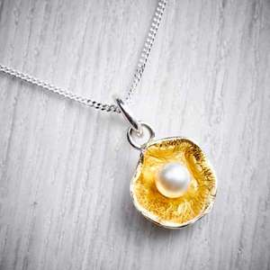Silver, gold and pearl reticulated pendant by Fi Mehra