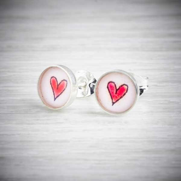 Silver & Resin Red Heart Stud Earrings by Clare Collinson. image property of THE JEWELLERY MAKERS.
