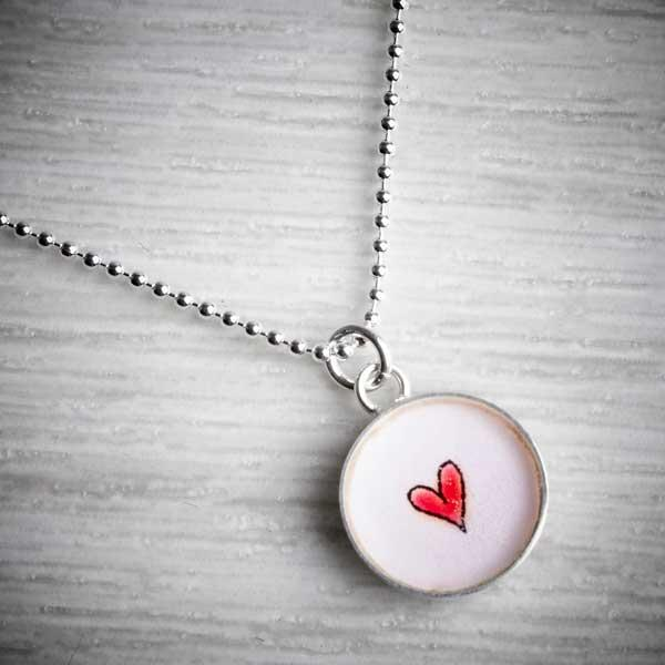 Silver & Resin Red Heart Charm Pendant by Clare Collinson. Image property of THE JEWELLERY MAKERS.