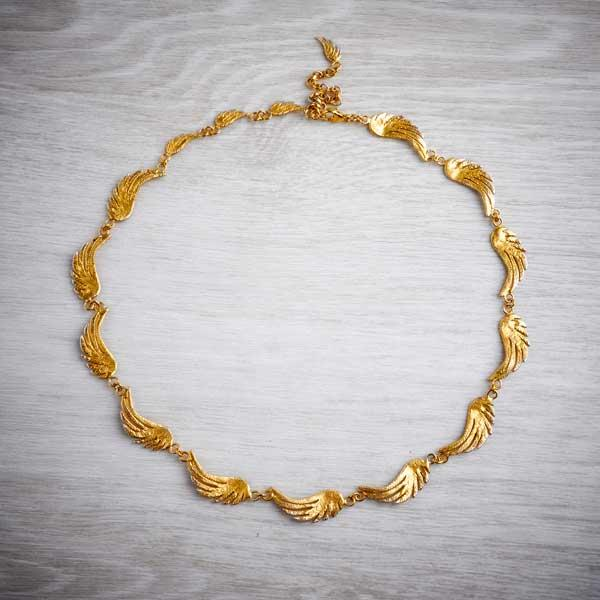Gold plated silver large angel wing necklace - an elegant and stylish statement piece