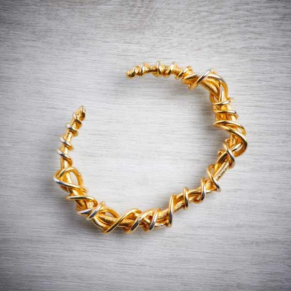 handmade gold vermeil torque bangle with gold vermeil twist detail