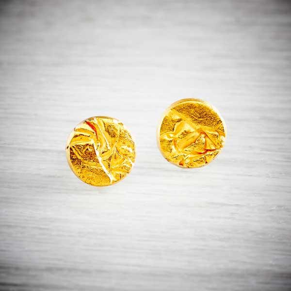 Gold handmade stud earrings with creased texture by Becca Macdonald for THE JEWELLERY MAKERS