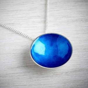 Large Halo Silver and Enamel Pendant  by Kokkino