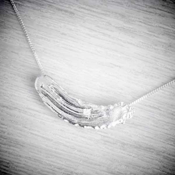 Silver brushstroke necklace by Becca Macdonald