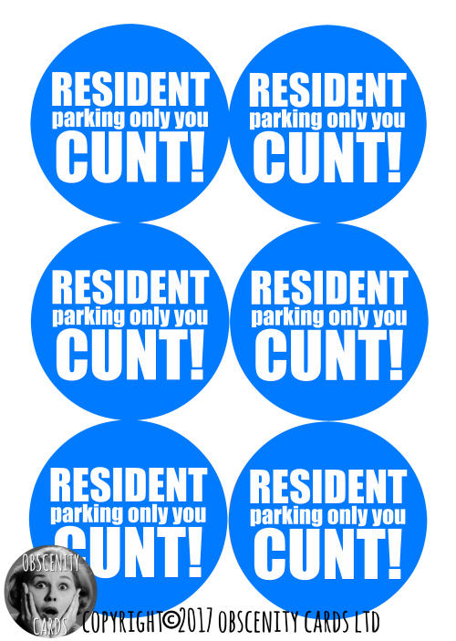 Funny Obscene resident parking stickers by Obscenity Cards