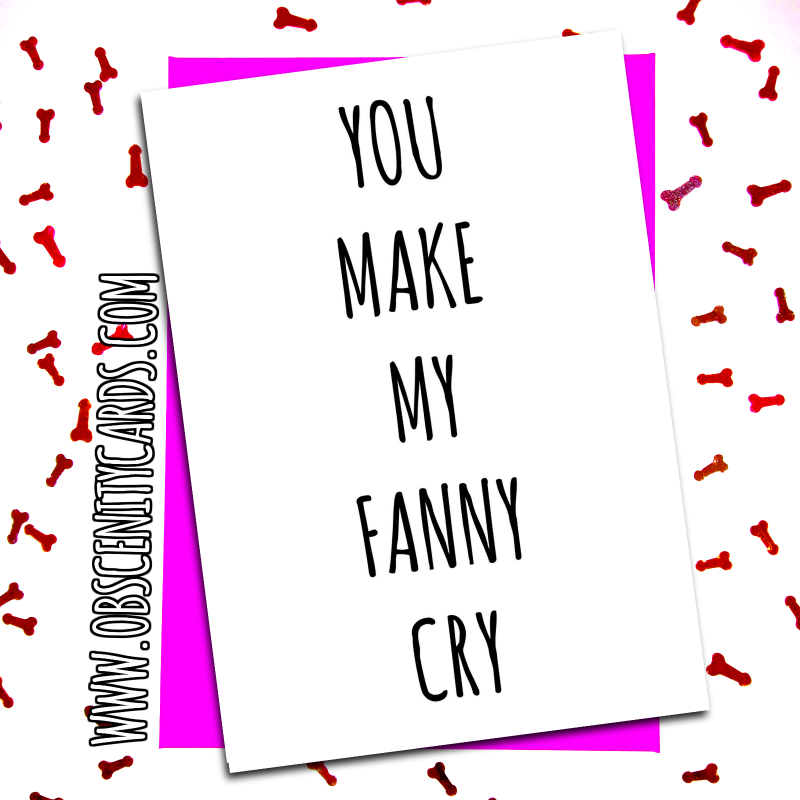 FUNNY VALENTINES DAY CARD - YOU MAKE MY FANNY CRY. Obscene funny offensive birthday cards by Obscenity cards. Obscene Funny Cards, Pens, Party Hats, Key rings, Magnets, Lighters & Loads More!