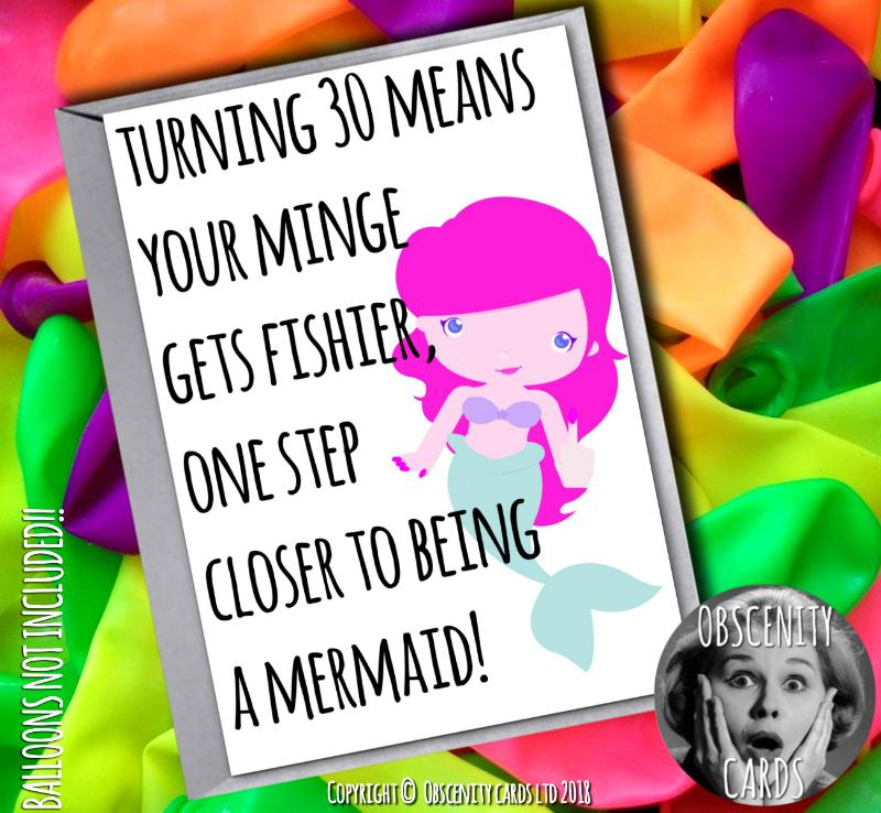 FUNNY BIRTHDAY MERMAID CARD - TURNING 30 / 40 MEANS YOUR MINGE GETS FISHIER! card