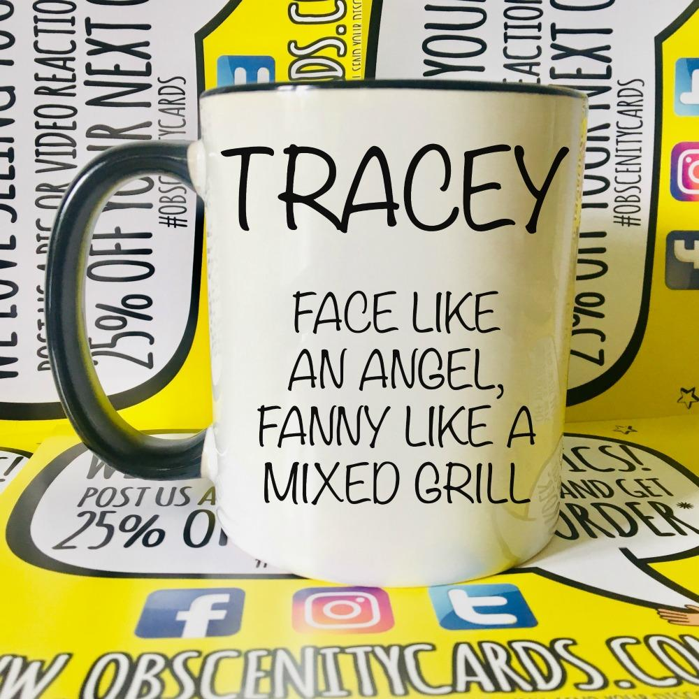 PERSONALISED MUG/CUP! FACE LIKE AN ANGEL, FANNY LIKE A ?. Obscene funny christmas pens. Obscene Funny Cards, Pens, Party Hats, Key rings, Magnets, Lighters & Loads More!