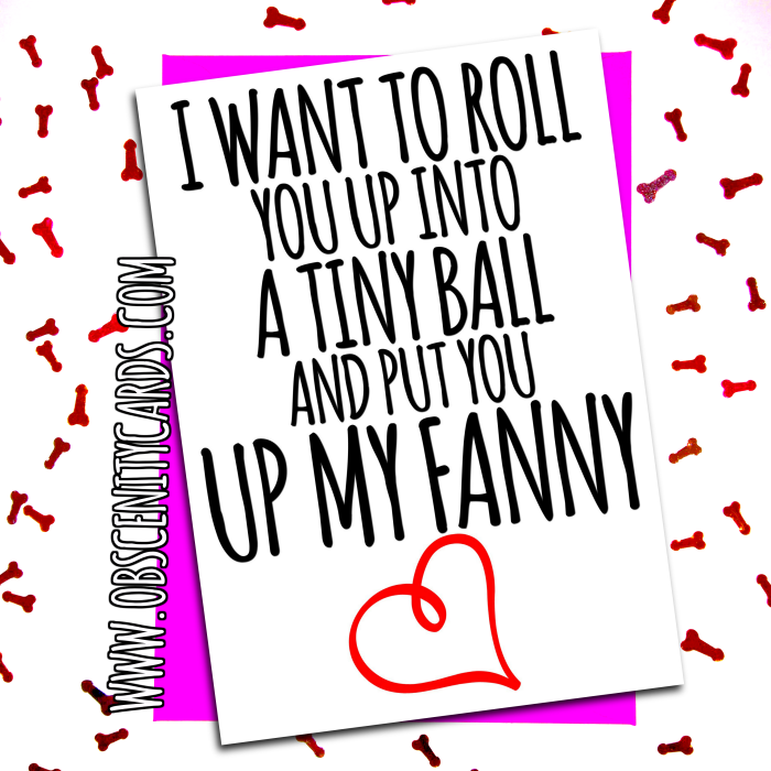 I WANT TO ROLL YOU UP INOT A TINY BALL AND PUT YOU UP MY FANNY. Obscene funny offensive birthday cards by Obscenity cards. Obscene Funny Cards, Pens, Party Hats, Key rings, Magnets, Lighters & Loads More!