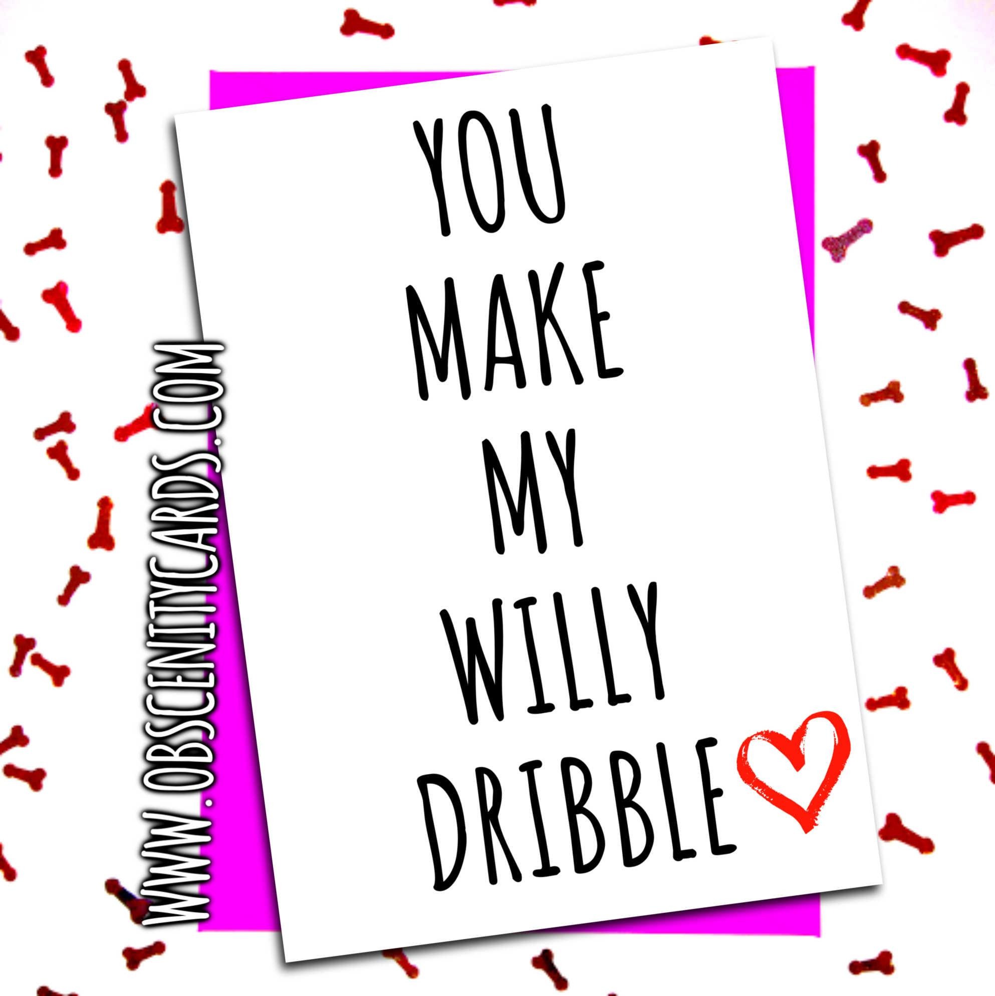 YOU MAKE MY WILLY DRIBBLE VALENTINE'S, ANNIVERSARY CARD.