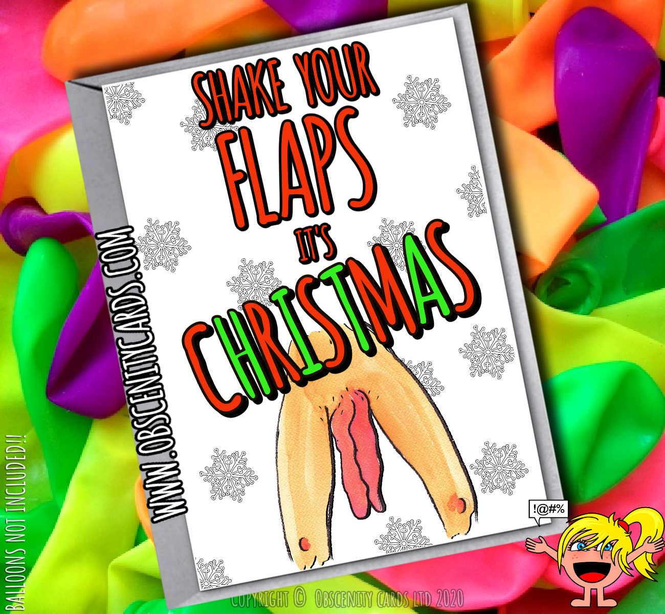 SHAKE YOUR FLAPS IT'S CHRISTMAS CARD