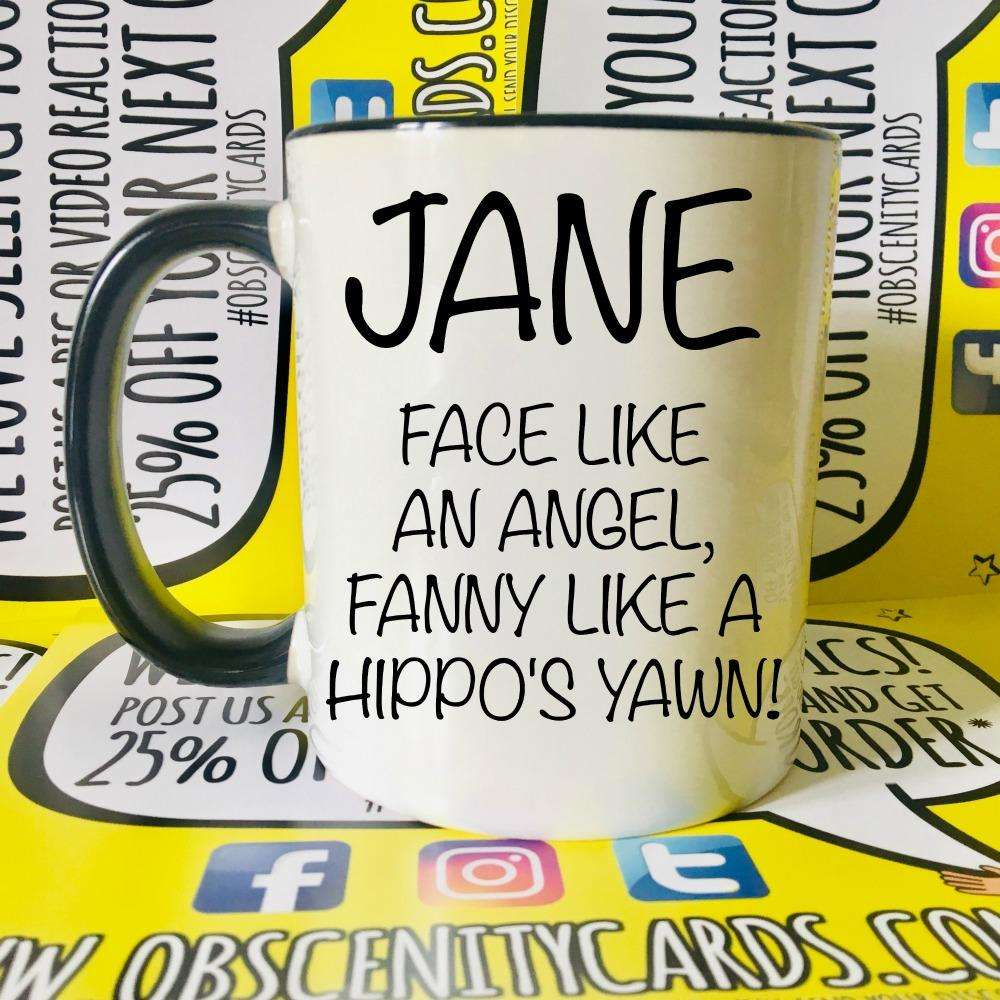 PERSONALISED MUG/CUP! FACE LIKE AN ANGEL, FANNY LIKE A ?. Obscene funny stickers and offensive birthday cards by Obscenity cards. Obscene Funny Cards, Pens, Party Hats, Key rings, Magnets, Lighters & Loads More!