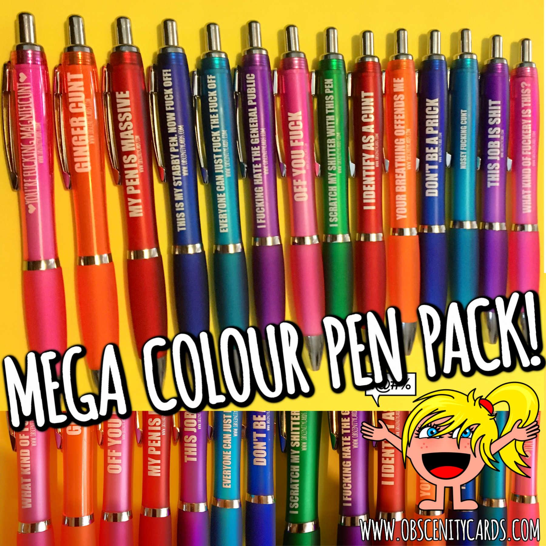 MIXED PACK OF FUNNY OBSCENITY PENS X 14 - THE MEGA COLOUR PACK
