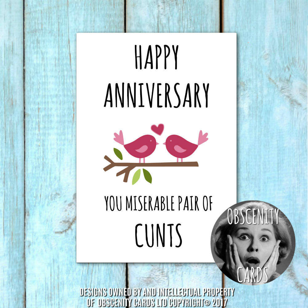 Funny Obscene anniversary card, by Obscenity Cards