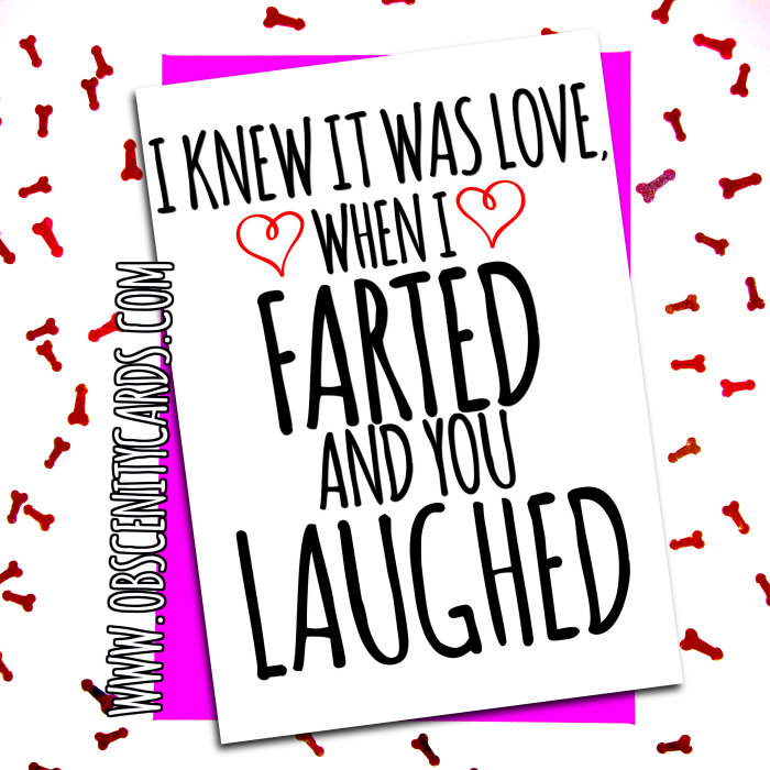 I KNEW IT WAS LOVE, WHEN I FARTED AND YOU LAUGHED. Obscene funny offensive birthday cards by Obscenity cards. Obscene Funny Cards, Pens, Party Hats, Key rings, Magnets, Lighters & Loads More!