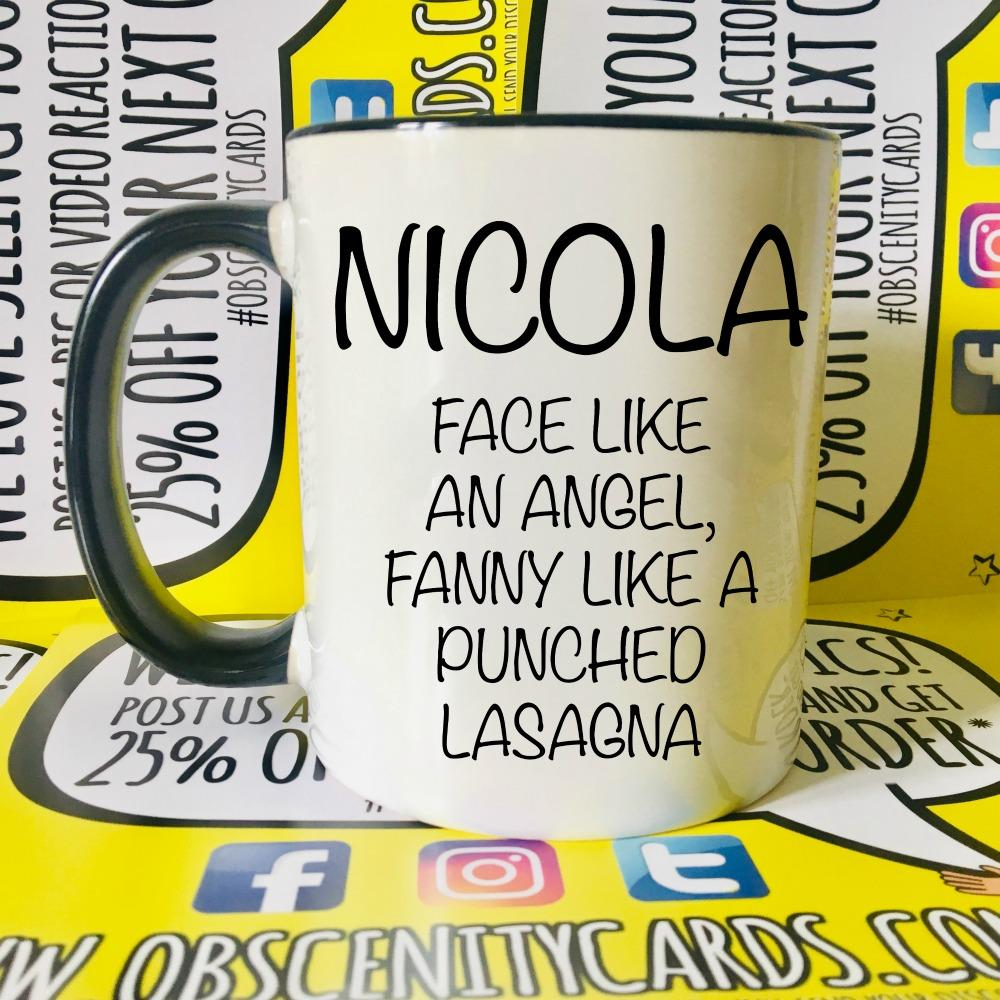 PERSONALISED MUG/CUP! FACE LIKE AN ANGEL, FANNY LIKE A ?. Obscene Christmas Advent Calendar. Obscene Funny Cards, Pens, Party Hats, Key rings, Magnets, Wine Bags, Lighters & Loads More!