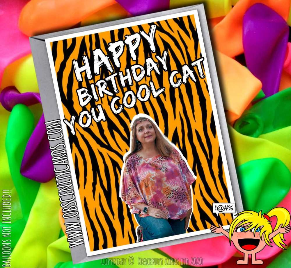 HAPPY BIRTHDAY YOU COOL CAT CAROLE BASKIN TIGER KING FUNNY CARD