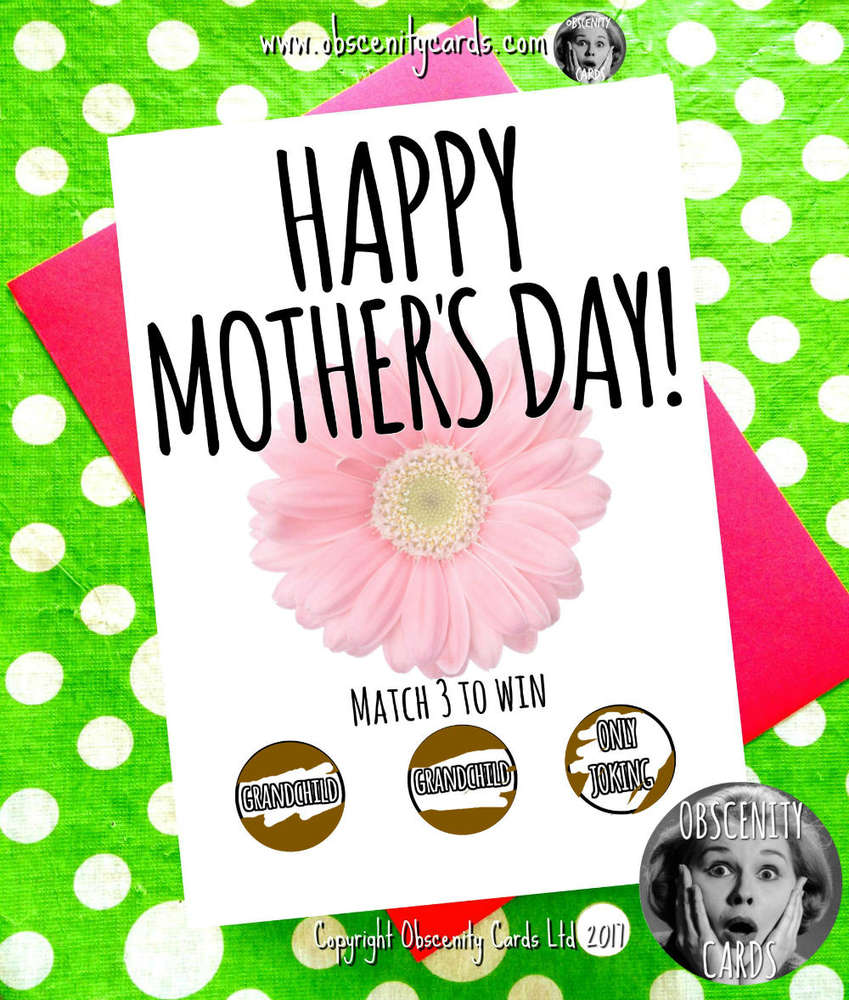 Obscene funny Mother's Day scratch cards by Obscenity cards. Obscene Funny Cards, Pens, Party Hats, Key rings, Magnets, Lighters & Loads More!