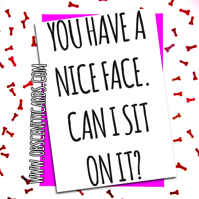 YOU HAVE A NICE FACE, CAN I SIT ON IT? VALENTINE'S CARD .Obscene funny offensive birthday cards by Obscenity cards. Obscene Funny Cards, Pens, Party Hats, Key rings, Magnets, Lighters & Loads More!