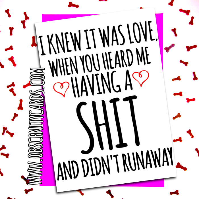 I KNEW IT WAS LOVE, WHEN YOU HEARD ME HAVING A SHIT, AND DIDN'T RUN AWAY. Obscene funny offensive birthday cards by Obscenity cards. Obscene Funny Cards, Pens, Party Hats, Key rings, Magnets, Lighters & Loads More!