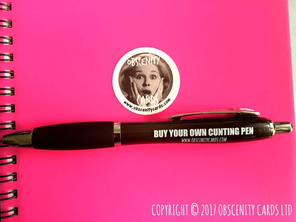 Funny Obscene Profanity Pens, buy your own cunting pen by Obscenity Cards
