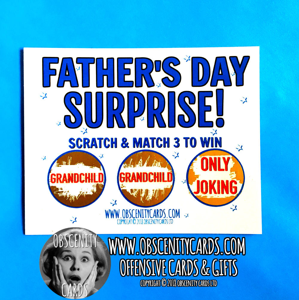 Obscene funny offensive mini father's day scratch cards by Obscenity cards. Obscene Funny Cards, Pens, Party Hats, Key rings, Magnets, Lighters & Loads More!