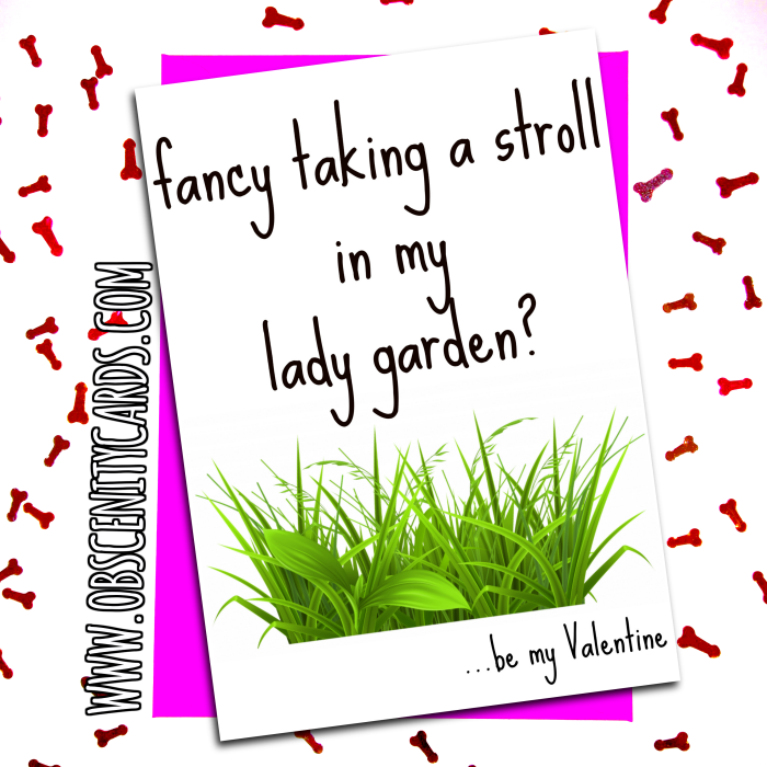 Valentines Day Card - Fancy a Stroll in My Lady Garden. Obscene funny offensive birthday cards by Obscenity cards. Obscene Funny Cards, Pens, Party Hats, Key rings, Magnets, Lighters & Loads More!