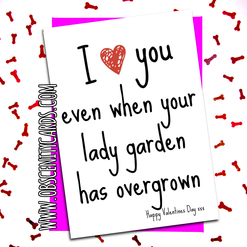 I Love You Even When Your Lady Garden has Overgrown - Valentine's Day Card. Obscene funny offensive birthday cards by Obscenity cards. Obscene Funny Cards, Pens, Party Hats, Key rings, Magnets, Lighters & Loads More!