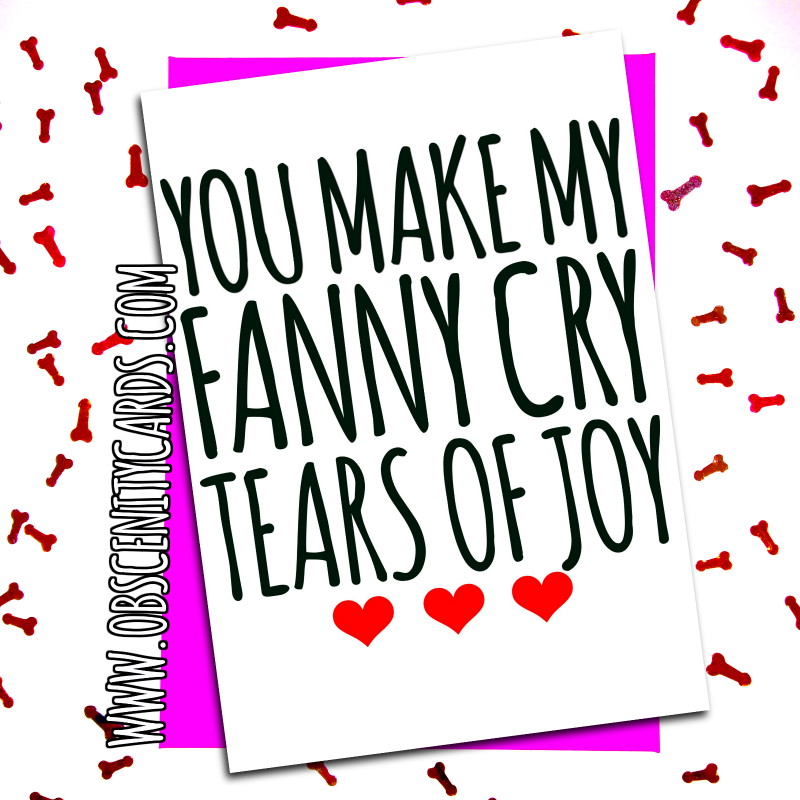 YOU MAKE MY FANNY CRY TEARS OF JOY VALENTINE'S CARD. Obscene funny offensive birthday cards by Obscenity cards. Obscene Funny Cards, Pens, Party Hats, Key rings, Magnets, Lighters & Loads More!