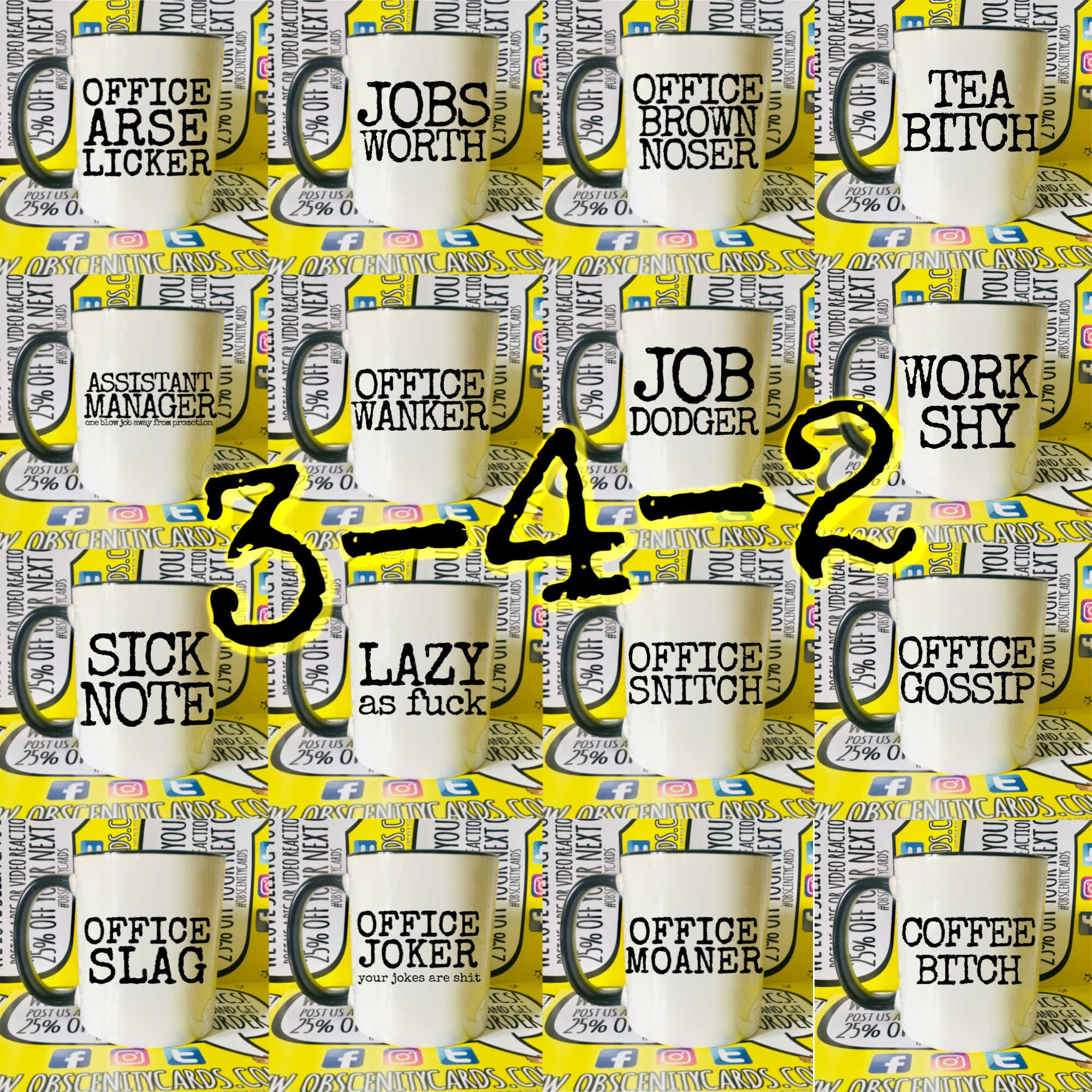 VARIOUS FUNNY OFFICE MUGS / CUPS 3-4-2 By Obscenity cards