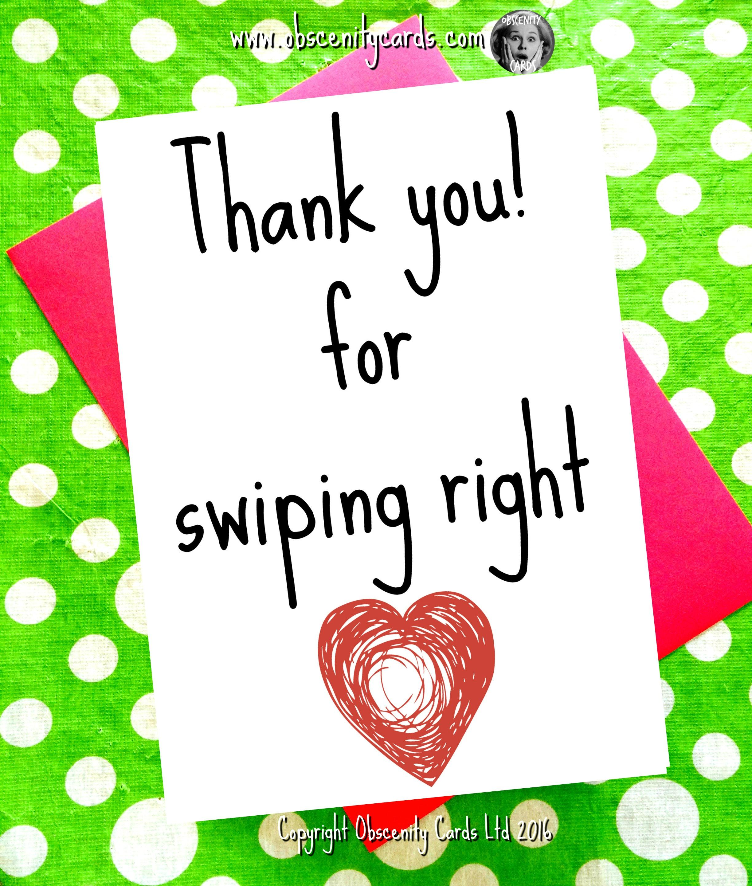 Thank you for swiping right anniversary valentine card