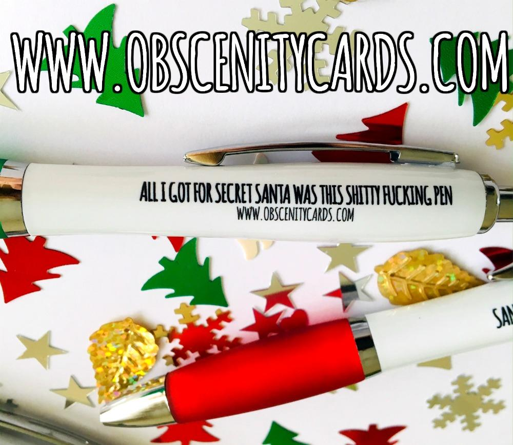 Obscene funny christmas pens. Obscene Funny Cards, Pens, Party Hats, Key rings, Magnets, Lighters & Loads More!