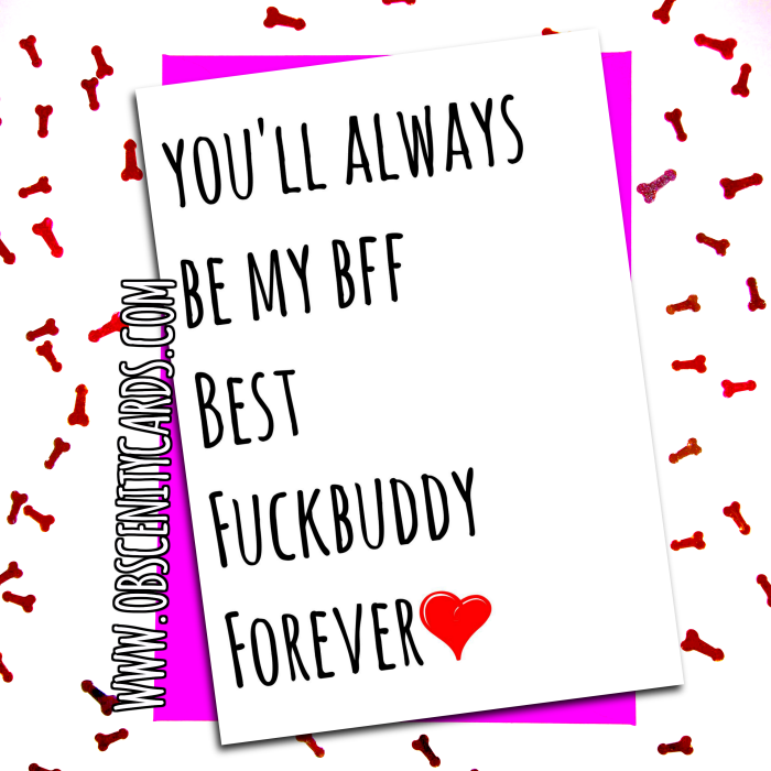 BFF Best Fuck Buddy Forever VALENTINE'S DAY CARD . Obscene funny offensive birthday cards by Obscenity cards. Obscene Funny Cards, Pens, Party Hats, Key rings, Magnets, Lighters & Loads More!
