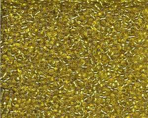 Miyuki Seed Beads 11/0 in Mustard Yellow Trans. Silver Lined