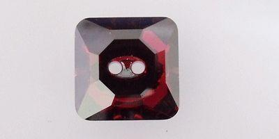 16mm Swarovski  Square Button in Crystal Red Magma M