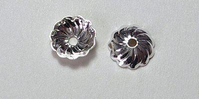 7mm Fluted Bead Cap in Silver Plate