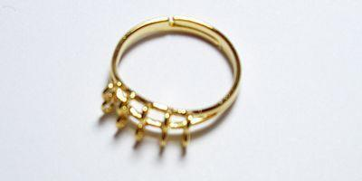 10 Loop Adjustable Bling Ring in Gold Plate