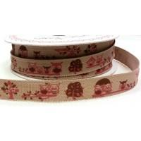 15mm Pink Owl Forest Friends Print Ribbon