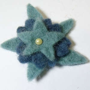 50mm Triple Layer Felt Flower in Teal and Blue