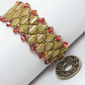 Silky Diamond Watch Cuff Pattern by Laura Graham