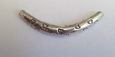 4x33mm Curved Tube with Heart Pattern - Silver Plated