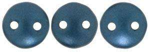 6mm Czech Mates Two Hole Lentil in Steel Blue Pastel