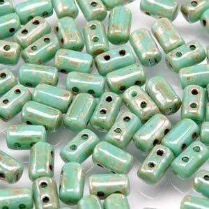 3x5mm Rulla Bead in Turquoise Green Picasso