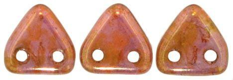 Czech Mates Two Hole 6mm Triangle in Luster Rose Gold Topaz