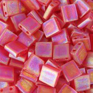 5mm Miyuki Tila Beads in Matte Transparent Red Orange AB