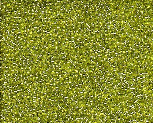 Miyuki Seed Beads 15/0 in Lime Green Trans. Silver Lined