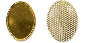 Oval Gold Plate Sieve Brooch