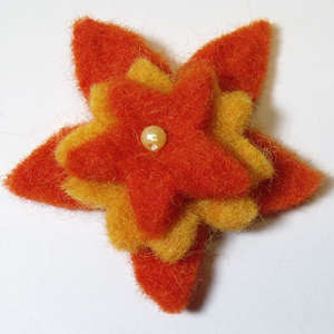 50mm Triple Layer Felt Flower in Orange and Apricot